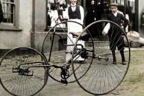 Tricycle in Usk, c1902 - colourised