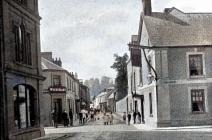 Bridge Street, Usk, early 1900 - colourised