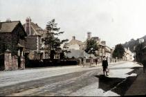 New Market Street, Usk, early 1900 - colourised
