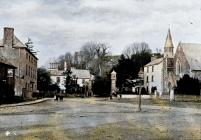 Usk square, c1900 - colourised