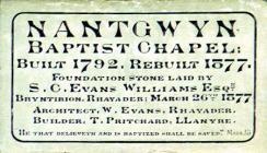 Nantgwyn English Baptist Chapel, Nantgwyn, near...