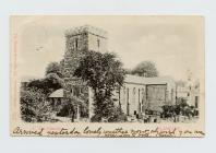 Postcard of the Church, Llanelly, 1901