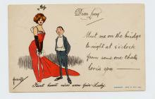 "Postcard of man and woman ""Faint heart ne&..."