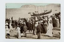 Postcard of Launch of Lifeboaat, Llandudno, 1904