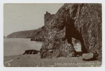 Postcard of Natural arch, Dixcart Bay, Sark. 1906