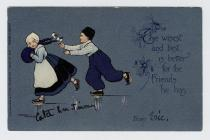 Postcard of two Dutch children skating, with...