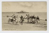 Postcard of Worthing, The Beach and Pier, 1908