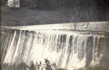 Wattsville Reservoir in flood, 1953 Winter