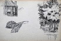 Drawings, house, leaves and trees May 22nd,...