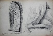 Cloisters & Ink drawing of fabric, June 3rd...