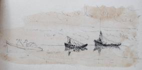 Scetch of covered boats by Beatrice Cummings