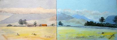 Landscape with farm buildings and landscape,...
