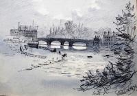 River & bridge, June 13th, 1894 by Annie Cummings