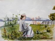 Woman sat sketching in the outdoors, July 1878...