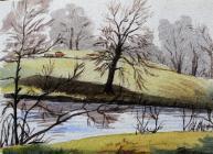 Riverside painting by Beatrice Cummings