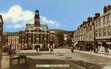 Maesteg Town Hall and Talbot Street.