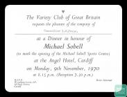 An invitation to a dinner in honour of Michael...