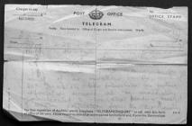 Telegram Reporting John Martin Missing, 1944