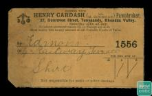 Pawnbroker ticket and stub from  Henry Cardash...