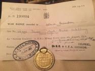 WW1 badges and medals, belonging to Albert Crandon