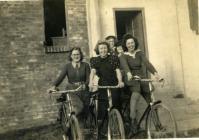 Land Army Women on bikes