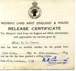 Olwen Davies's release certificate from...