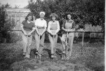 Land Army women digging