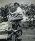 Olwen Davies on a tractor
