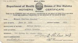 Birth certificate of Ernest Charles Crandon, 1932
