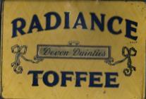 A 'Radiance' toffee tin belonging to Albert...