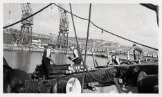 Stevedores Working on a Ship in Barry Docks