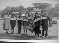 Group in fancy dress at Rhayader Carnival, ?1953