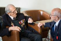 D-Day Veterans Ted Owens and Tony Bird meeting...