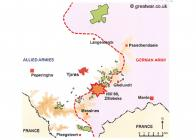 Map showing overview of WW1 Army placements