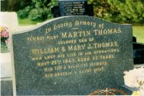 Photograph of the headstone of Martin Thomas...