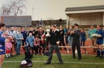 Ray Quant MBE. Lifting the Inter Service Cup in...
