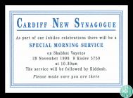 Announcement card for the Cardiff New Synagogue...