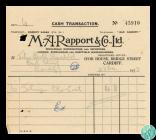 A cash transaction receipt from M A Rapport ...