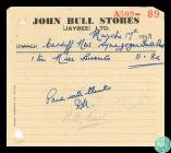 Receipt from John Bull Stores (Jaybee) Ltd,...