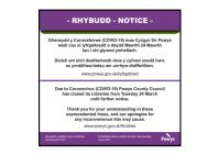 Poster Cau Llyfrgelloedd Powys Mawrth 2020