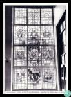 Black and white photograph of the stained glass...