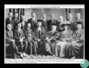 Black and white photograph of notables gathered...