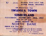 Swansea City FC match tickets, 1950's