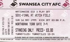 Swansea City FC match tickets, 1990's
