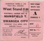 Swansea City FC match tickets, 1970's