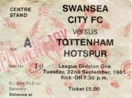 Swansea City FC match tickets, 1980's